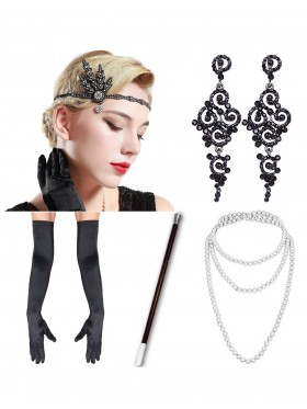 Black 5pcs Roaring 1920 Accessories Set