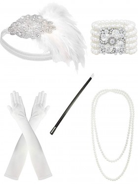 White 5pcs Roaring 1920 Accessories Set