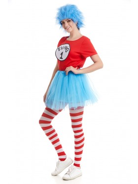 Women Dr Seuss Cat In The Hat Thing Costume Set