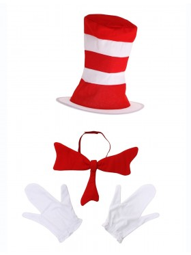 Adult Stripe Cat in the Hat Bow Tie Gloves Book Week Dr Seuss