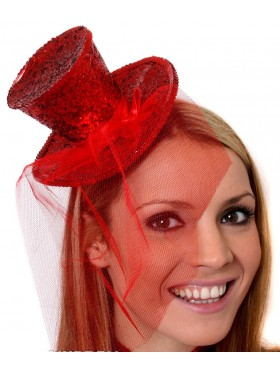 RED Fever Mini Top Hat on headband Ladies Mini Glitter Top Hat