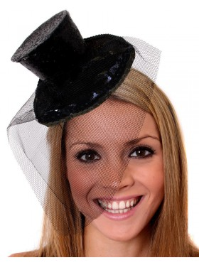 Black Fever Mini Top Hat on headband Ladies Mini Glitter Top Hat