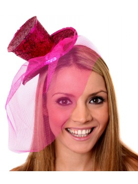HOT PINK Fever Mini Top Hat on headband Ladies Mini Glitter Top Hat