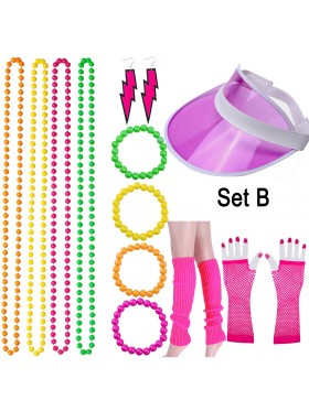 Coobey 80s Neon Bracelet Necklace Bow Headband Fishnet Gloves Lighting Earring Leg Warmers