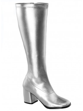Ladies Go Go Knee High Wid fit Adult Women Boots Shoes Silver