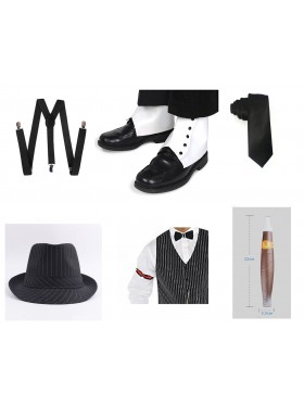 Black Mens 1920s 20s Gangster Set Hat Braces Tie Cigar Set Gatsby Costume Accessories