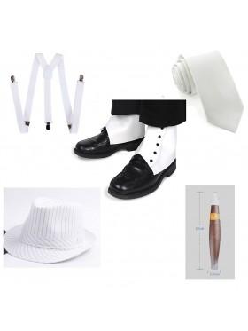 White Mens 1920s 20s Gangster Set Hat Braces Tie Cigar Set Gatsby Costume Accessories
