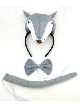Wolf Headband Bow Tail Set Kids Animal Farm Zoo Party Performance Headpiece