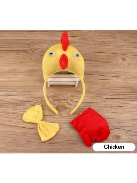 Chicken Headband Bow Tail Set Kids Animal Farm Zoo Party Performance Headpiece