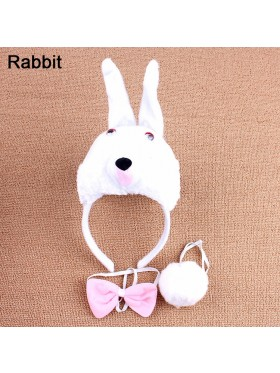 Rabbit Headband Bow Tail Set Kids Animal Farm Zoo Party Performance Headpiece