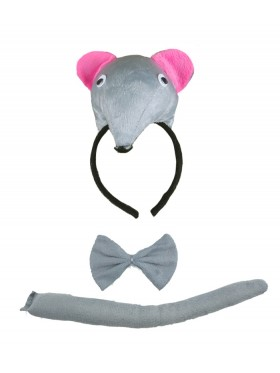 Rat Headband Bow Tail Set Kids Animal Farm Zoo Party Performance Headpiece Fancy Dress Costume Kit Accessory