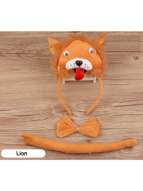 Lion Headband Bow Tail Set Kids Animal Farm Zoo Party Performance Headpiece