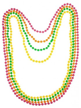 Beaded Necklace Neon Assorted Retro Bead Rave 80s Disco Costume Accessory