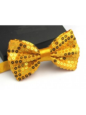 Gold Glitter Sequin Clip-on Bowtie Dance Party Men Women Boys Girls Bow Tie Costume Accessory