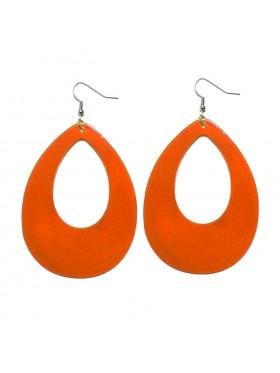 Orange Teardrop 80s Neon Earrings