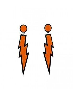 Orange Glitter Lightning Rock Star 80s Earrings
