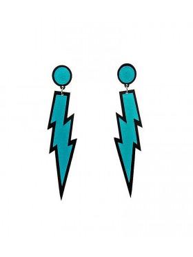 Blue Glitter Lightning Rock Star 80s Earrings