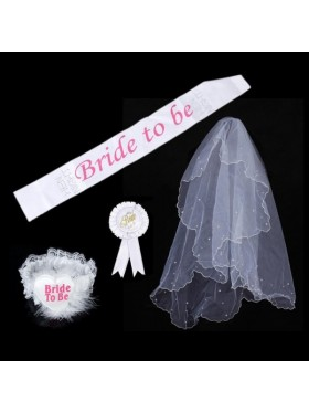 White Hen's Night Ladies Girls Bride to Be Bachelorette Party Sashes Badge Sash Garter Veil Costume Accessory