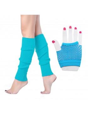 Light Blue Coobey 80s Neon Fishnet accessory set