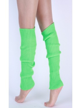 Green Licensed Womens Pair of Party Legwarmers Knitted Dance 80s Costume Leg Warmers