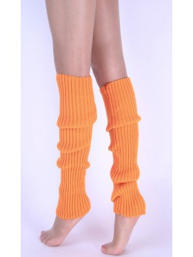 Orange Licensed Womens Pair of Party Legwarmers Knitted Dance 80s Costume Leg Warmers