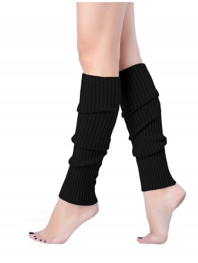Black Licensed Womens Pair of Party Legwarmers Knitted Dance 80s Costume Leg Warmers