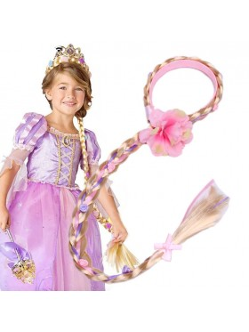 Rapunzel Girls Disney Princess Wig Headband Hair Plait with Pink Flower for Kids Costume Accessary
