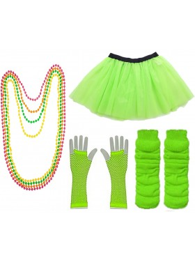 Green Coobey Ladies 80s Tutu Skirt Fishnet Gloves Leg Warmers Necklace Dancing Costume Accessory Set