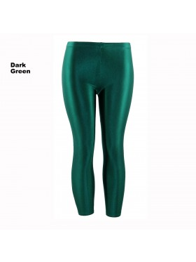 Dark Green 80s Shiny Neon Costume Leggings Stretch Fluro Metallic Pants Gym Yoga Dance