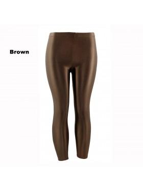 Brown 80s Shiny Neon Costume Leggings Stretch Fluro Metallic Pants Gym Yoga Dance