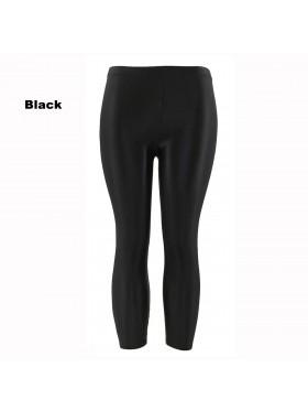 Black 80s Shiny Neon Costume Leggings Stretch Fluro Metallic Pants Gym Yoga Dance