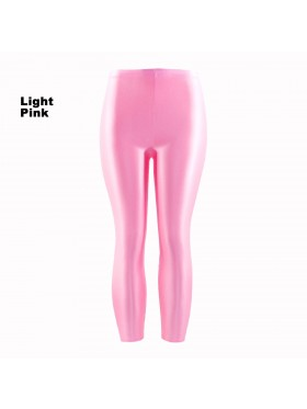 Light Pink 80s Shiny Neon Costume Leggings Stretch Fluro Metallic Pants Gym Yoga Dance