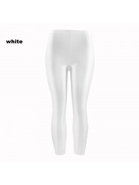 White 80s Shiny Neon Costume Leggings Stretch Fluro Metallic Pants Gym Yoga Dance