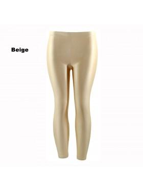 Beige 80s Shiny Neon Costume Leggings Stretch Fluro Metallic Pants Gym Yoga Dance