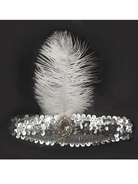 Silver 1920s Headband Feather Vintage Bridal Great Gatsby Flapper Headpiece gangster ladies