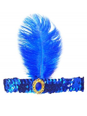 Blue 1920s Headband Feather Vintage Bridal Great Gatsby Flapper Headpiece gangster ladies