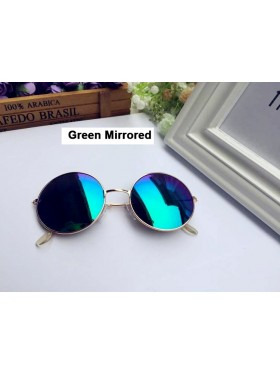 Green Mirrored Glasses 1980s Round Frame