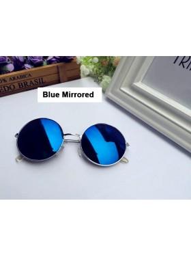 Blue Mirrored Glasses 1980s Round Frame