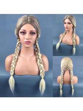 Long Braided Blonde Princess Wig + Hair Cap