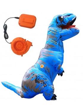 Blue ADULT T-REX INFLATABLE Costume Jurassic Blowup Dinosaur TRex T Rex