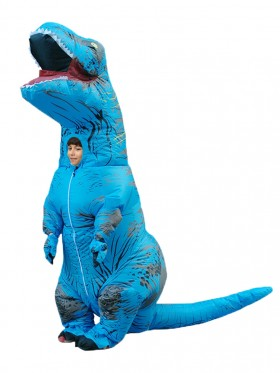 Blue Kids T-Rex Blow up Dinosaur Inflatable Costume