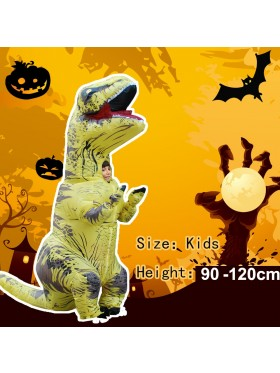 Yellow Kids T-Rex Blow up Dinosaur Inflatable Costume