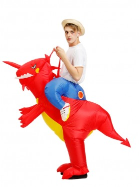 Adult Red Dinosaur t-rex Blow Up inflatable costume