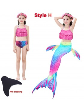 Kids Ariel Mermaid tails Swimsuit Costume with Monofin
