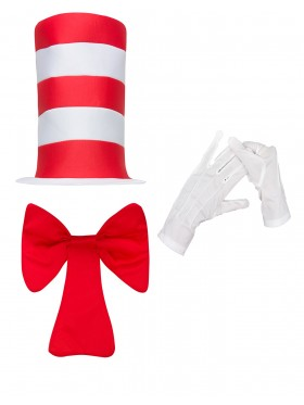 Kids Stripe Cat in the Hat Bow Tie Gloves Children Accessories Boys Girls Book Week Dr Seuss