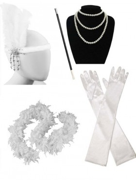 White 1920s Charleston Ladies 20s Gatsby Burlesque Flapper Fancy Dress Costume Accessory Set