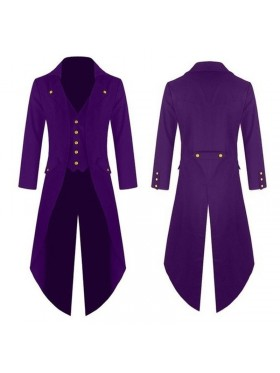 Purple Mens Steampunk Vintage Tailcoat Jacket Gothic Victorian Frock Coat Business Suit Ringmaster