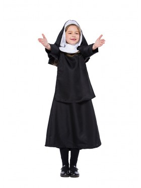 Kid Girl Nun Costume Halloween Party Fancy Dress Sister Act Holy