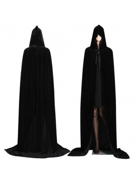 Black Adult Hooded Cloak Cape Wizard Costume