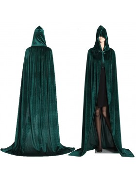 Green Adult Hooded Cloak Cape Wizard Costume